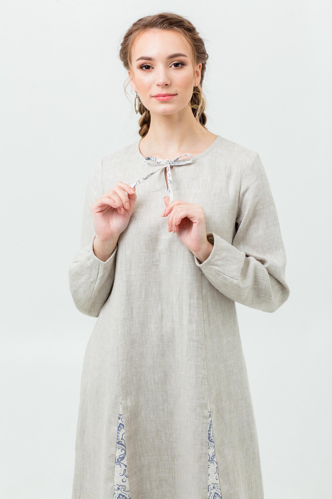 Платье в пол в русском стиле Сливочный щербет