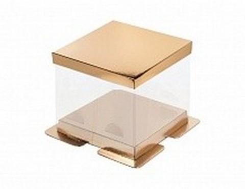 Коробка под торт Премиум, 30*30*28см (золото)