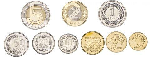 Набор 9 монет 2009-2015 гг. 1, 2, 5, 10, 25, 50 грошей, 1, 2, 5 злотых. Польша. UNC