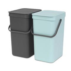 Встраиваемые мусорные ведра Sort & Go (2 x 12 л), Мятный/серый