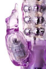 Фиолетовый хай-тек вибратор High-Tech fantasy с бусинами и отростком - 27,2 см.
