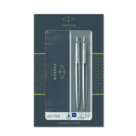 Набор из 2х ручек в подарочной коробке  «Паркер Джоттер Стэнли Стил Си Ти».  Шариковая ручка синяя и механический карандаш. Произведено во Франции.123