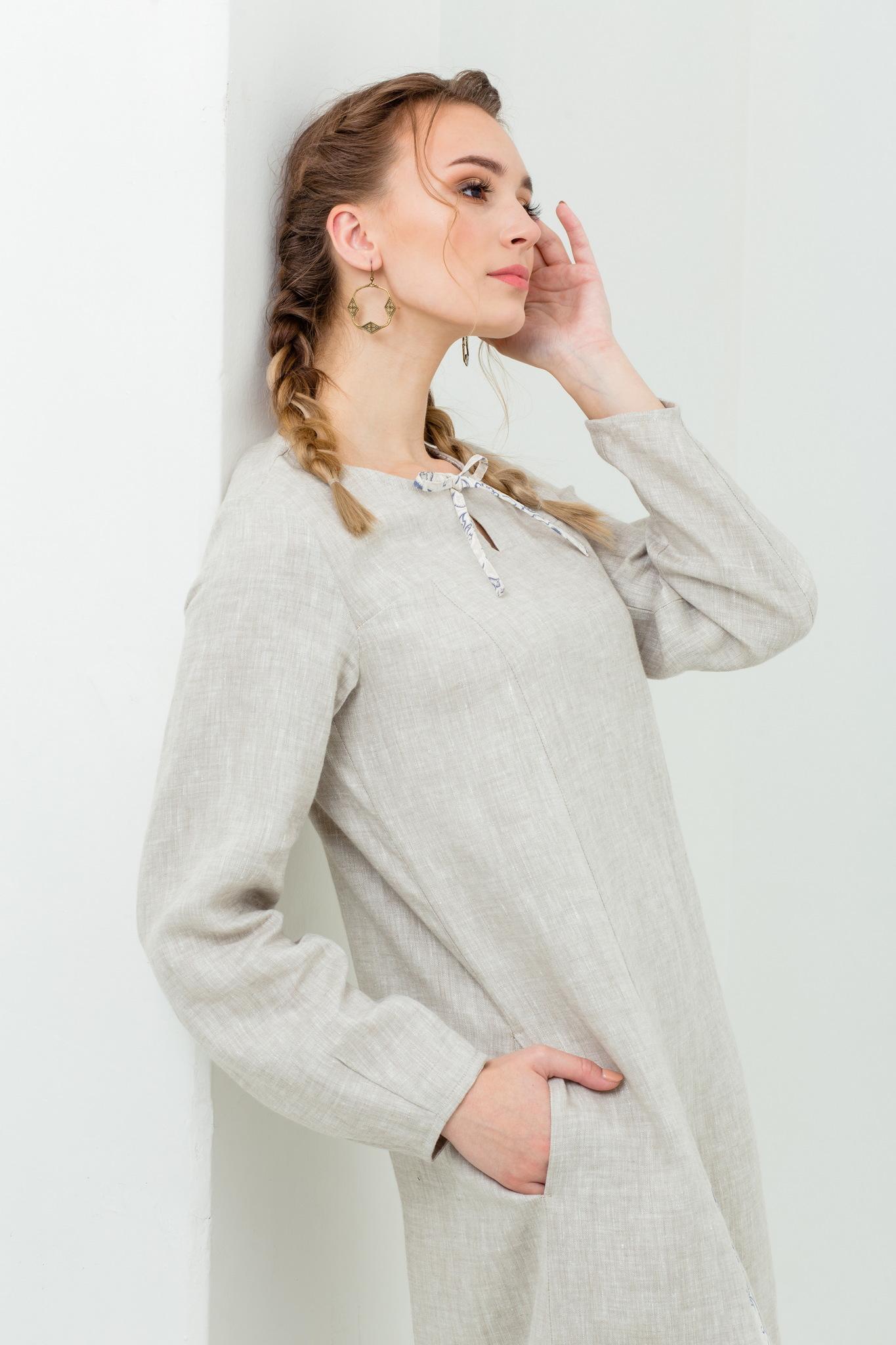 Народное платье из льня Сливочный щербет