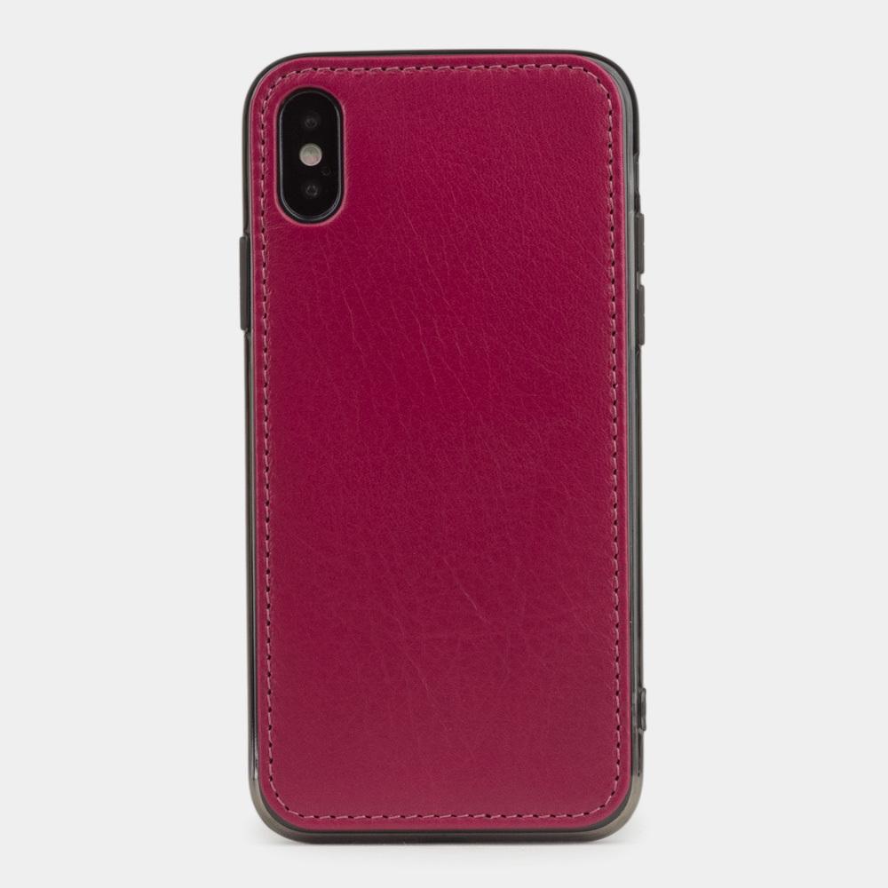 Чехол-накладка для iPhone X/XS из натуральной кожи теленка, цвета малины