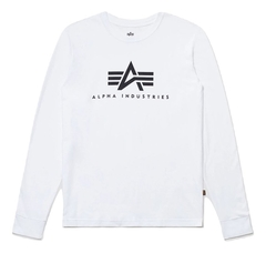 Лонгслив Alpha Industries Basic Logo White (Белый)