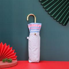 Суперлегкий зонт, ручка крюк, женский, с защитой от УФ, механика, 6 спиц (светло-голубой, с розовым кантом)