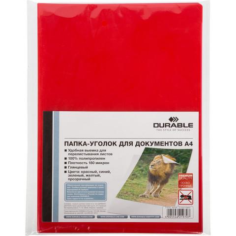 Папка-уголок Durable A4 красная 180 мкм (10 штук в упаковке)