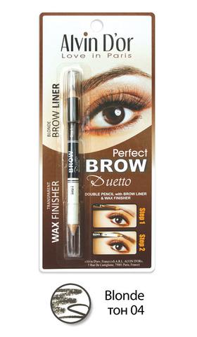 Alvin D`or P1-4 Дуэт для бровей двойной карандаш+Воск Brow Perfect (тон 04 Blonde)