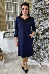 Марселина. Элегантное женское платье. Синий