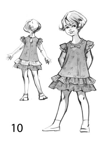 Детское платье с рукавом-крылышко и отрезной юбкой-оборкой