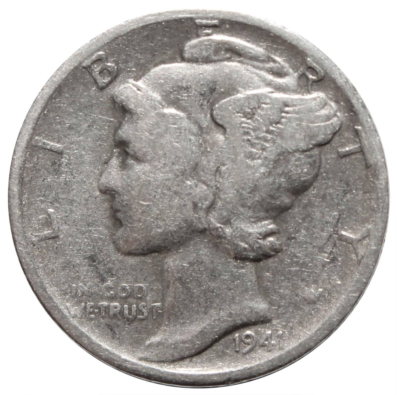 1 дайм (10 центов) 1941. США F-VF (Меркурий) Серебро