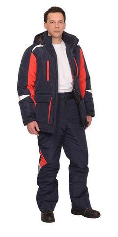 Костюм  ИТР зимний: куртка брюки темно-синий с красным
