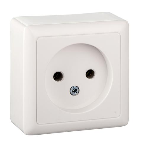 Розетка электрическая без заземления c пластиковой пластиной 10 А 250 В. Цвет Белый. Schneider Electric(Шнайдер электрик). Hit(Хит). RA10-131I-B