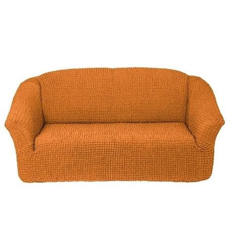 Чехол на 3-х местный диван рыжий без оборки.