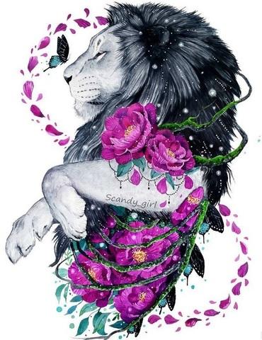 Алмазная Мозаика 5D 40x50 Лев и цветы