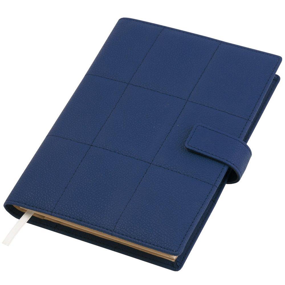 Ежедневник-портфолио Royal, синий, эко-кожа, недатированный кремовый блок, VIP- подарочная коробка на магните с салфеткой