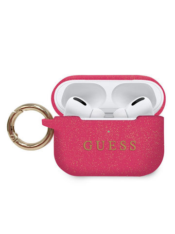 Guess / Чехол для Airpods Pro Silicone case с кольцом | фуксия (пурпурный)