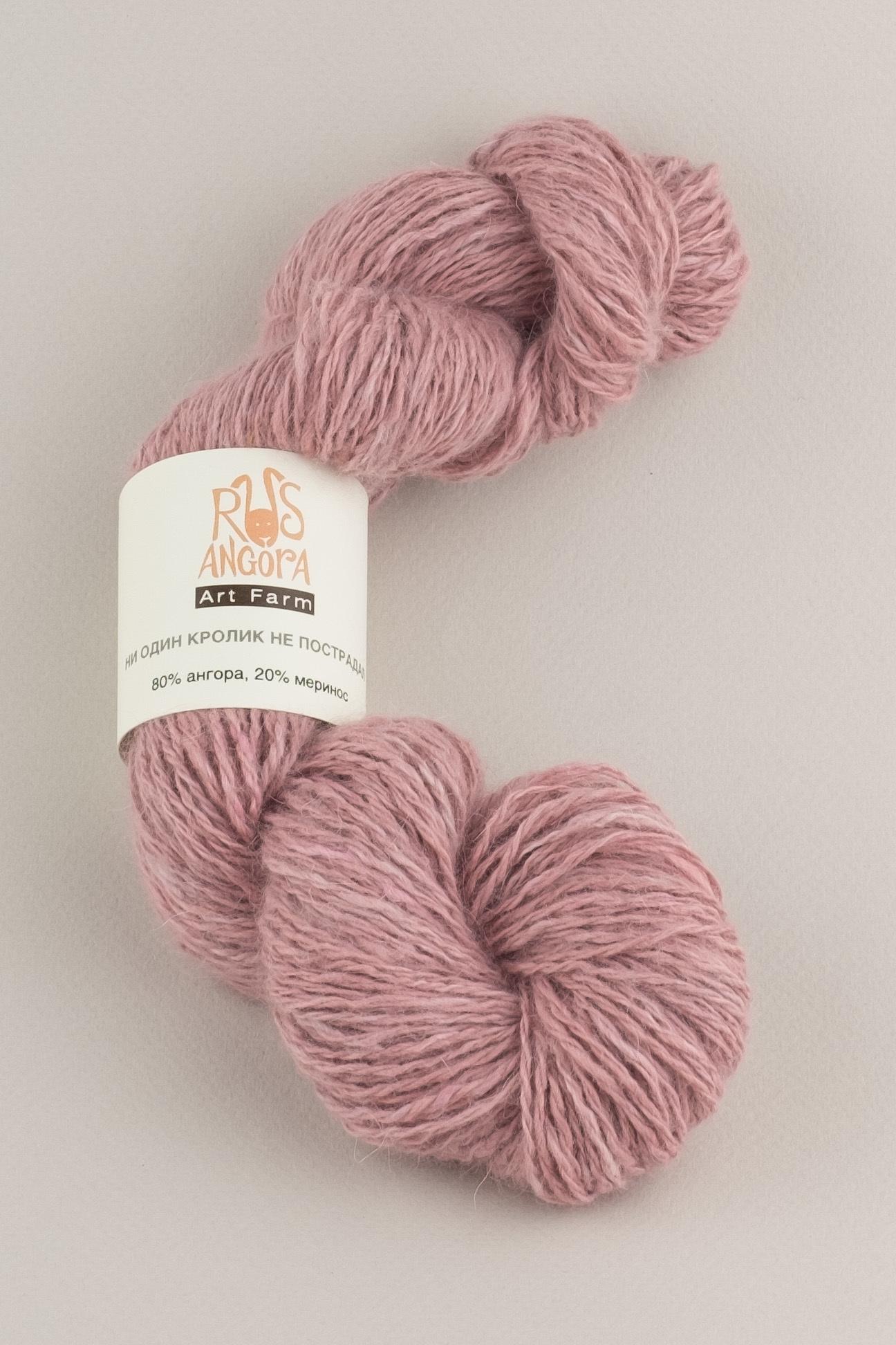 Пряжа из 100% ангоры ручной работы пыльный розовый