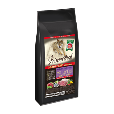 Primordial Mini Adult Сухой корм для собак мелких пород с сардиной и гусем (беззерновой)