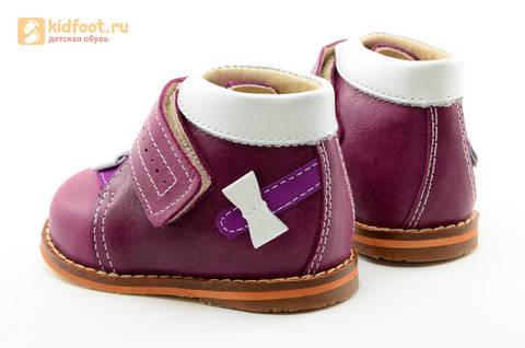 Ботинки для девочек Тотто из натуральной кожи на липучке цвет Сирень, 013A. Изображение 7 из 16.