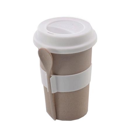 Кофейная кружка с ложкой, бежевый цвет