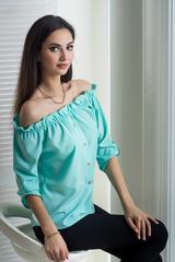 Міка. Молодіжна оригінальна літня блуза. М'ята