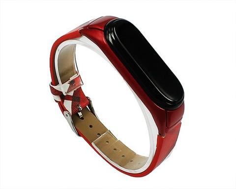 Ремешок для Xiaomi Mi Band 3/4 Блюберри клетка | искуственная кожа красный с белым