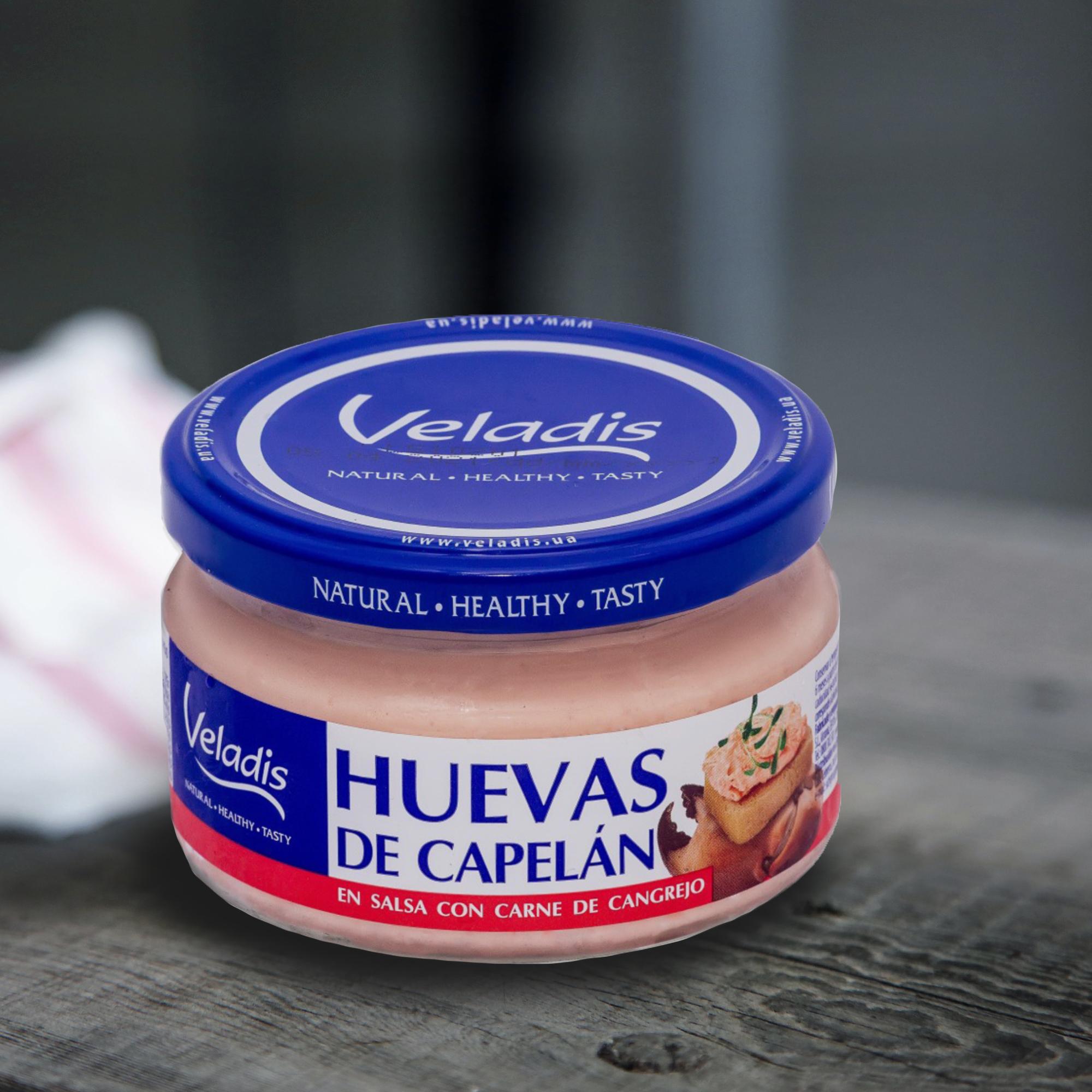 Crema de huevas de capelán con carne de cangrejo
