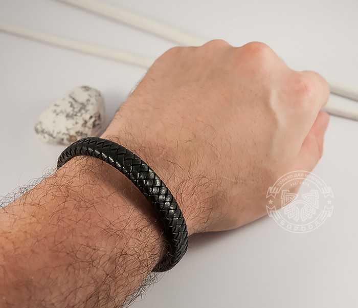BL428-1 Стильный мужской браслет из натуральной кожи и стали (21 см) фото 06