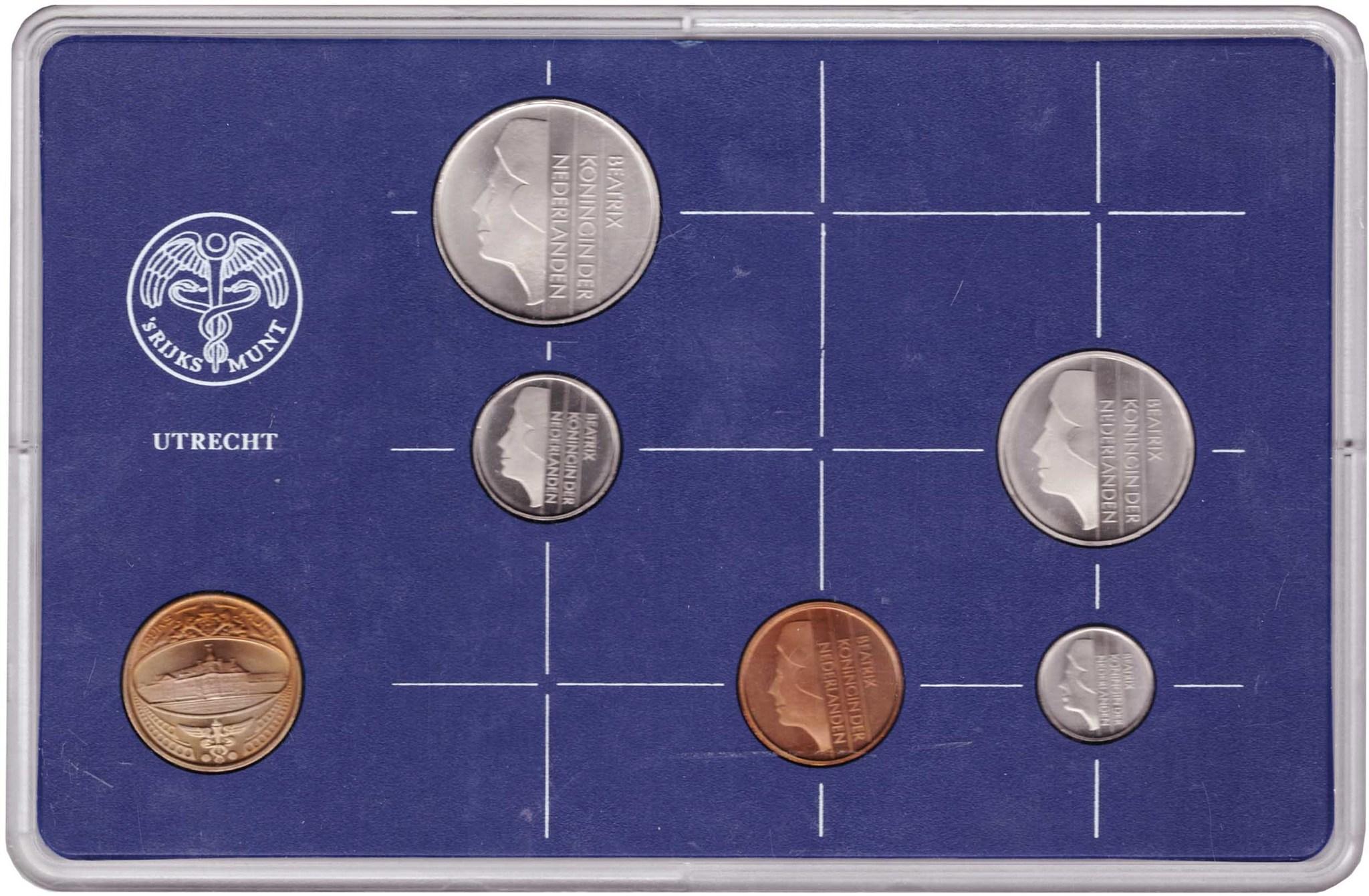 Набор монет Нидерландов 1986 UNC в пластиковой упаковке