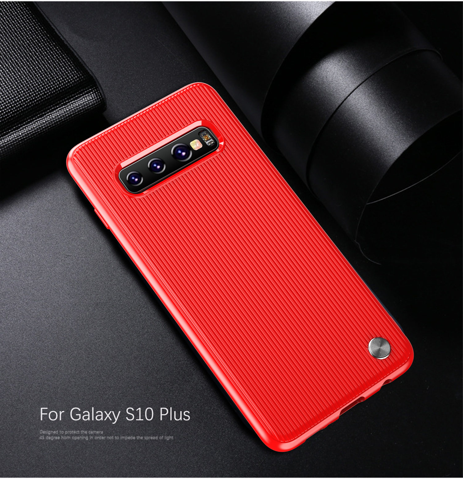 Чехол Samsung Galaxy S10 Plus цвет Red (красный), серия Bevel, Caseport