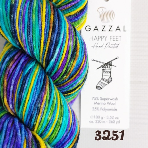 GAZZAL HAPPY FEET 3251, Бирюзовый/фиолетовый/желтый/зеленый/синий