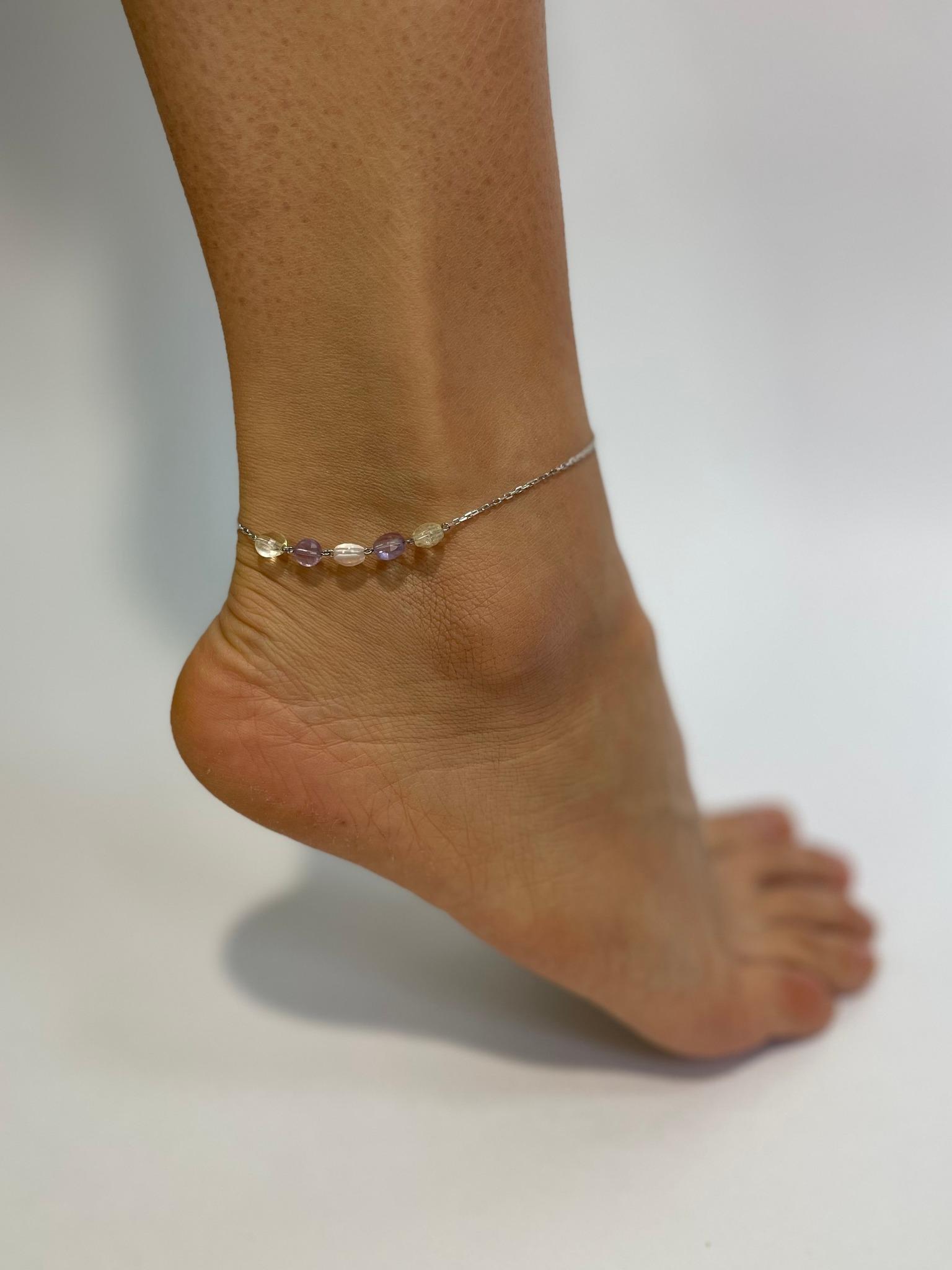 Ювелирный браслет на ногу с флюоритом