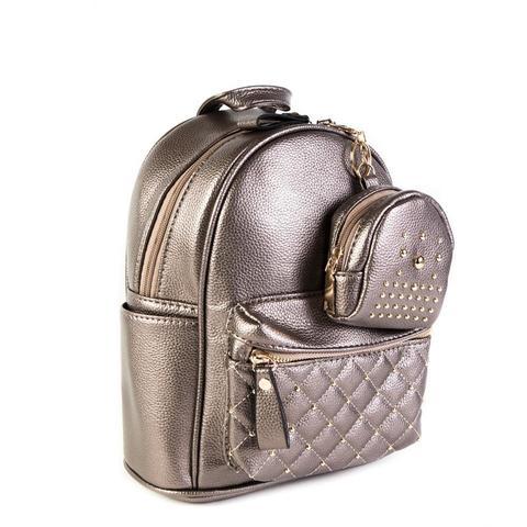 Женский средний рюкзак 20х26х13 см с брелком-кошельком бронзовый 2968-2