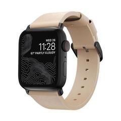 Ремешок Nomad Modern Slim Leather Apple Watch 40/38mm бежевый/черный