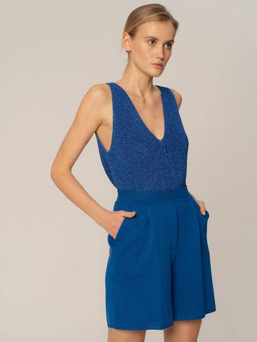 Женские шорты синего цвета из вискозы - фото 2