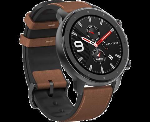 Умные часы Amazfit GTR 47мм aluminium case, leather strap, brown