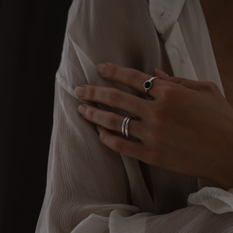 Кольцо ALPHA - Черный оникс