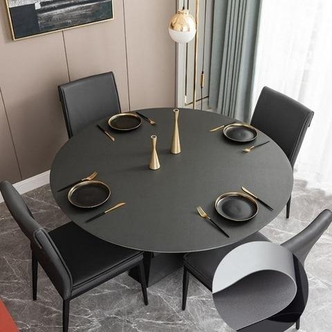 Скатерть-накладка на круглый стол диаметр 114 см двухсторонняя из экокожи серая-светло серая