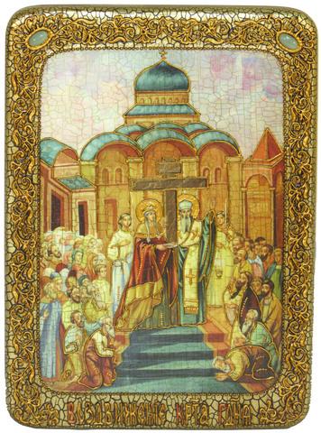Инкрустированная икона Воздвижение Святого Креста Господня 29х21см на натуральном дереве, в подарочной коробке