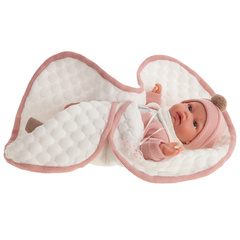 Munecas Antonio Juan Кукла Лина в розовом, озвученная (детский лепет), 34 см (7049)