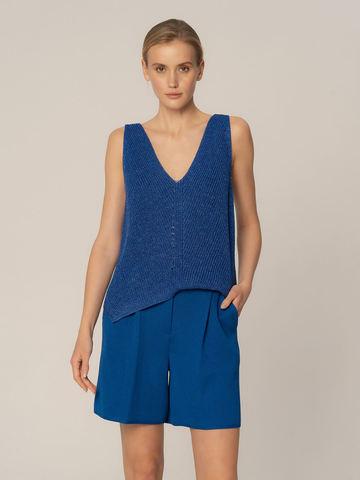 Женские шорты синего цвета из вискозы - фото 3