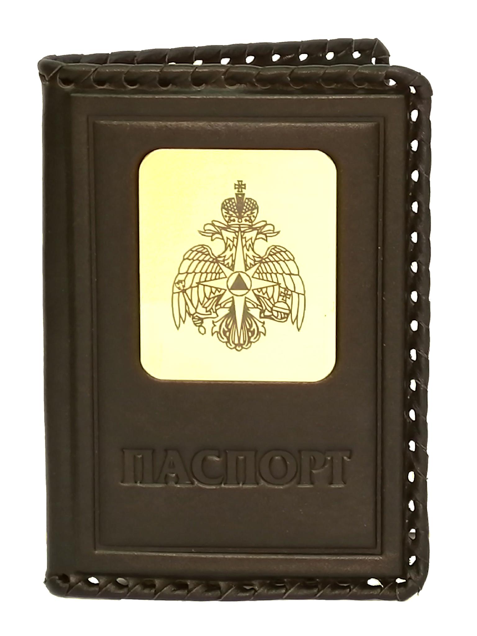 Обложка на паспорт   Герб МЧС   Коричневый
