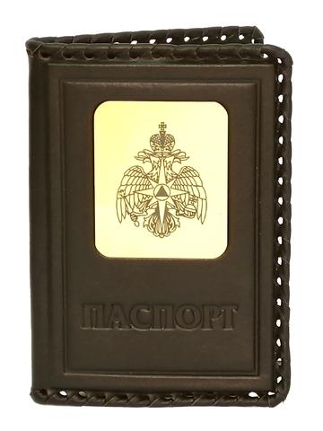 Обложка на паспорт | Герб МЧС | Коричневый