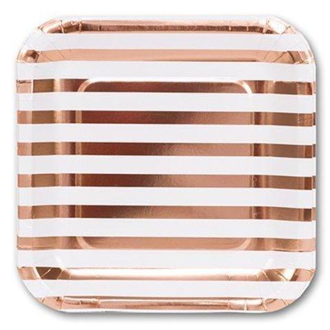 Тарелка фольг розовое золото 23см 6шт/G