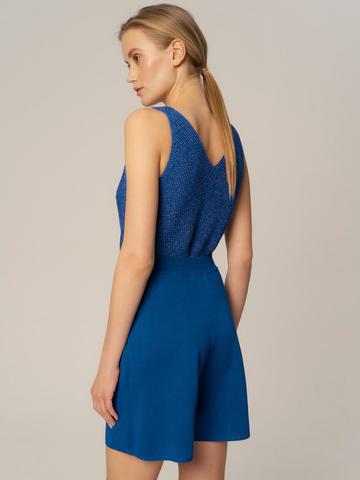 Женские шорты синего цвета из вискозы - фото 4