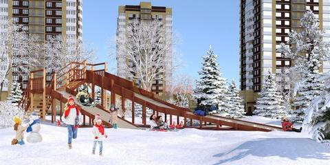 Большая зимняя деревянная горка для коттеджных поселков