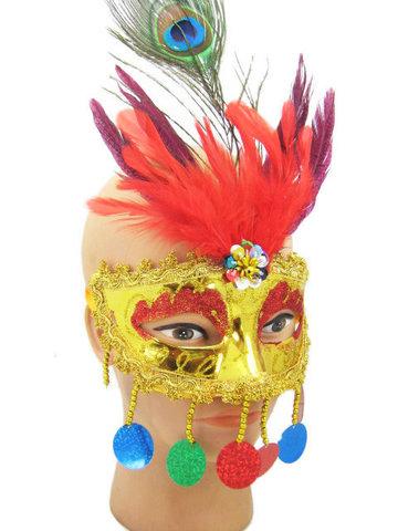 Полумаска с подвесками и перьями карнавальная