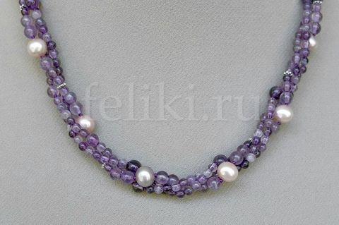 ожерелье из аметиста и жемчуга