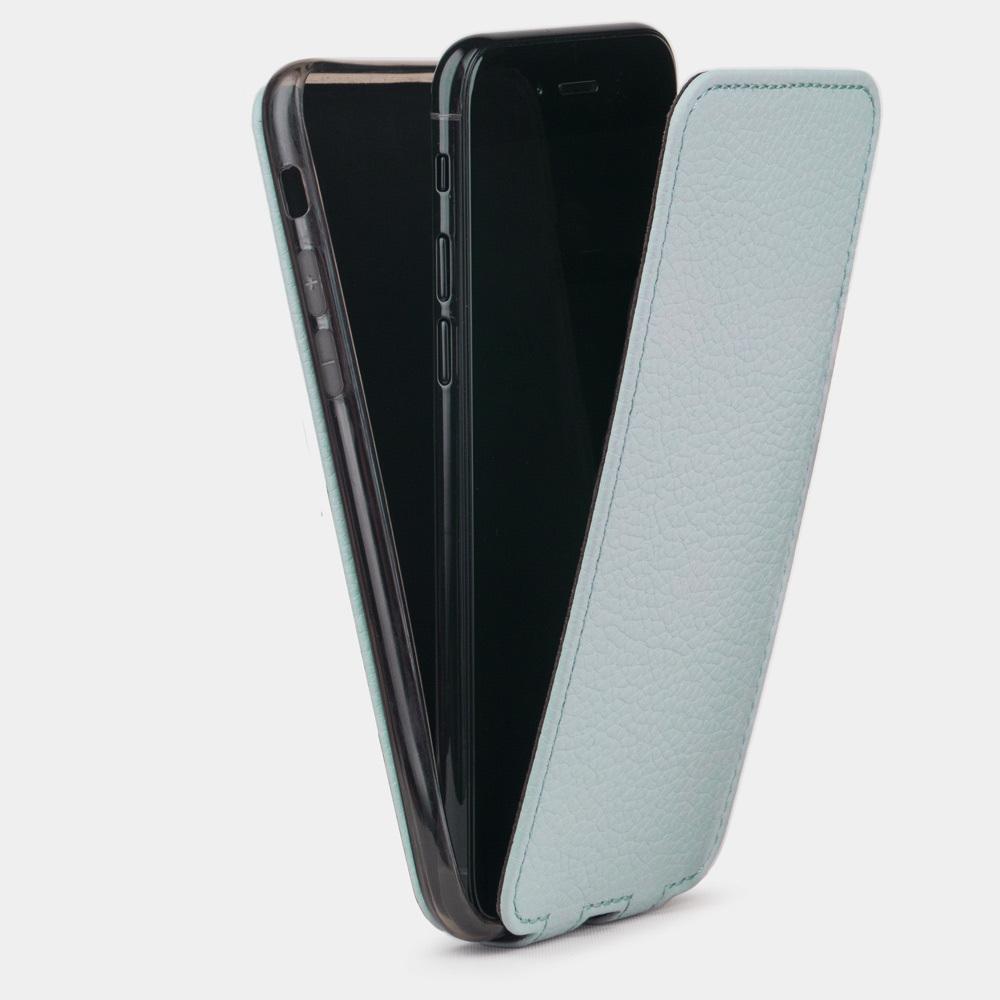 Чехол для iPhone 8 Plus из натуральной кожи теленка, голубого цвета